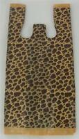 50 Leopard Print Design Plastic T-shirt Retail Shopping Bags Handles 8x5x16