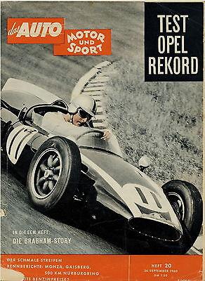 Auto Motor Sport 1960 20/60 Opel Olympia Rekord 1,5 John Cooper Colin Chapman Automobilia Zeitschriften