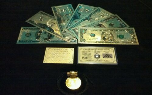~LUCKY 11Pc.LOT~SILVER Shot+COIN+$1,2,5,10,20,50,$100 Banknote Reps*W//COA+FLAKE~
