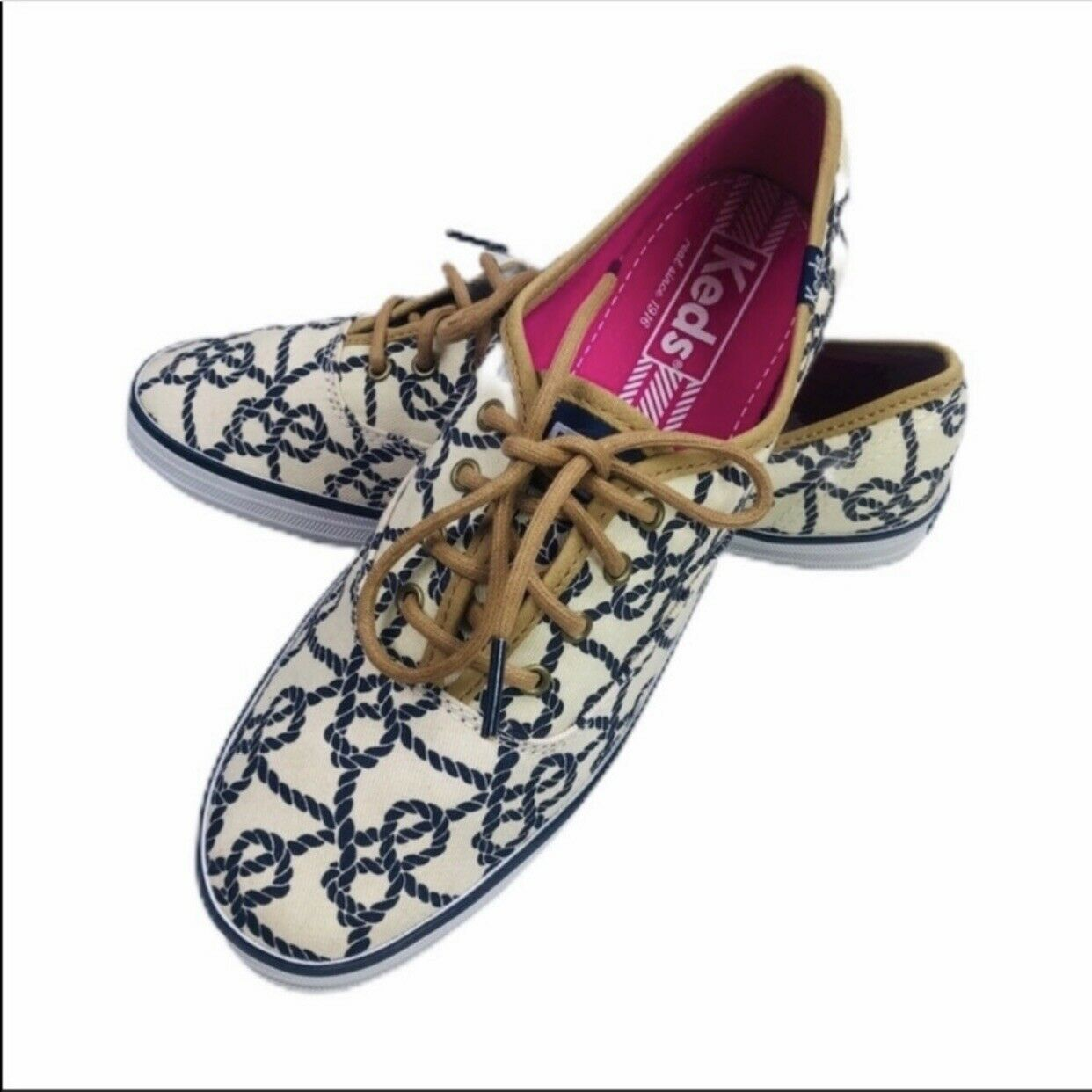 Keds Nautical Rope Print Sneakers Blue & White Size 7.5