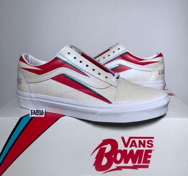 wholesale sales various styles hot sales Vans Old Skool X David Bowie Aladdin Sane True White Red Blue DB Size 3.5-13