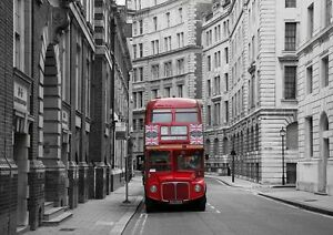 Rojo-Londres-City-Bus-Union-Jack-Papel-Pintado-Foto-Mural-Pared-335x236cm-Enorme