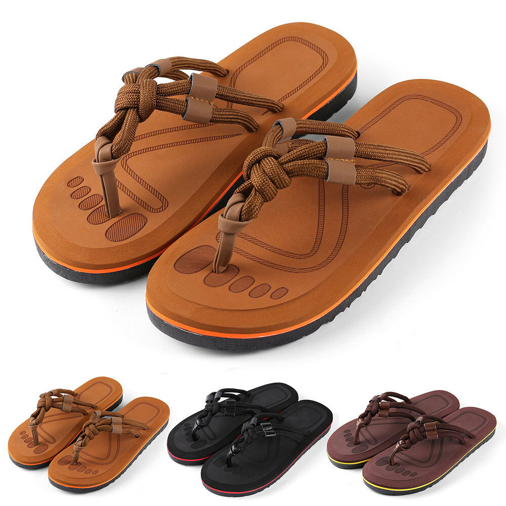 Anti-slip Men's Thong Sandals Flip-Flops Summer Strappy Knotted Sandals Thong Size 9-10 dad33c