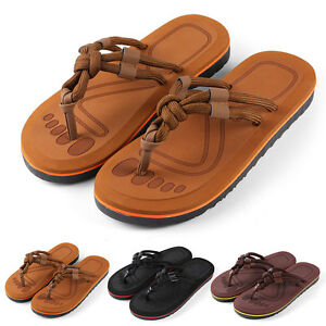 Anti-slip Men's Thong Flip-Flops Summer Strappy Knotted Sandals Size 9-10
