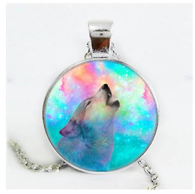 Wolf Photo Cabochon Glass Silver//Black//Bronze Chain Pendant Necklace#1