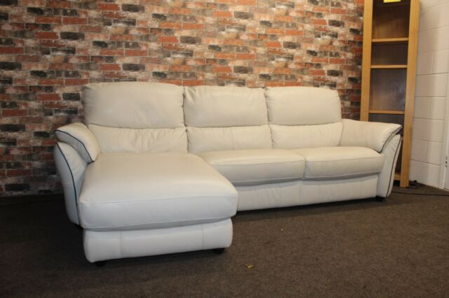 Furniture Village Salamander Ivory Leather 3 Seater LHF Chaise End Sofa