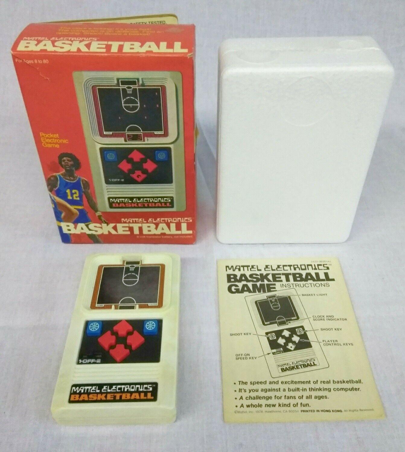 Baloncesto Vintage Mattel electrónico caja de video juego portátil manual de espuma de poliestireno