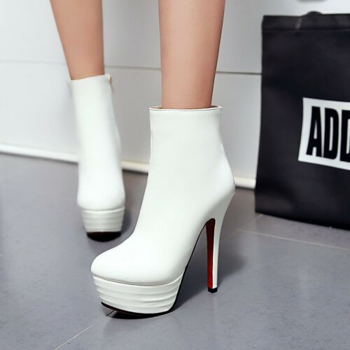 Fashion New Women/'s Stilettos Synthetic Leather Shoes High Heel Zip Ankle Boots