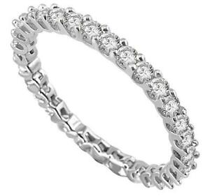 Natural-Diamond-Eternity-Stackable-Engagement-Ring-SI1-G-1-10-Ct-14K-White-Gold