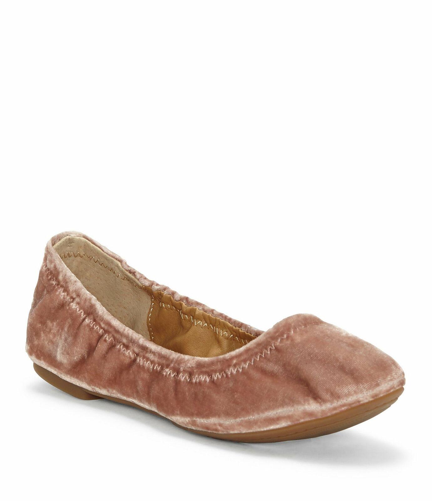 Lucky Brand Emmie bluesh Pink Nude Velvet Ballet Slip On Flexible Sole Flats