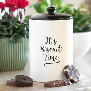 Carnaby-Script-White-Black-Biscuit-Time-Jar-Tin-Storage-Canister-Cookie-Barrel