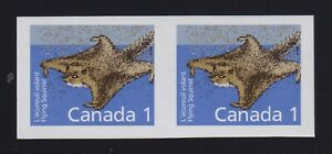 Canada-Sc-1155b-1988-1c-Flying-Squirrel-IMPERFORATE-PAIR-Mint-VF-NH