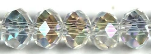 10 Inch Strand. Chinese Glass Crystal Faceted 4x6mm Clear AB Rondelle Approx