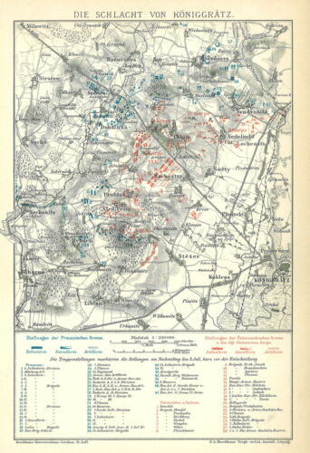 alte Karte 1898: Die Schlacht von Königgrätz Historische B14 Hradec Králové