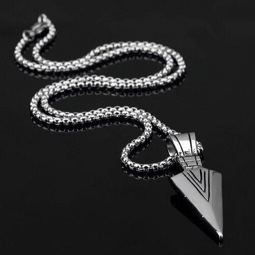 Silver Native American Arrow Head Pendant Necklace in Velvet Gift Bag