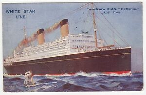 RMS HOMERIC PC Postcard WHITE STAR LINE Cruise Ship PAQUEBOT - Homeric cruise ship