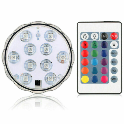 4 Pcs Remote Controlled RGB Submersible 10 LEDs Lights 16 Colors Changing Lamp