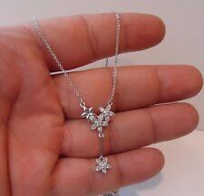 DANGLING FLOWER NECKLACE PENDANT W/ LAB DIAMONDS/ 925 STERLING SILVER / 18''