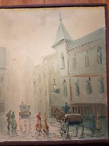 Beautiful-painting-town-carriages-and-people-around-1900-signed