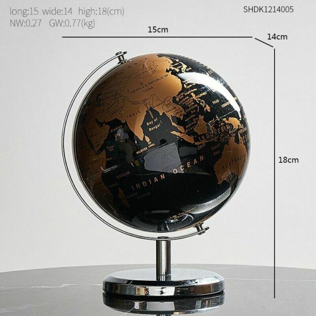 19 cm Black /& Gold globe rotatif Atlas Rétro Maison Ornement étude DECOR monde