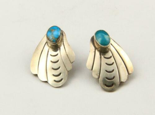 Vintage Navajo Sterling Silver & Turquoise Clip On