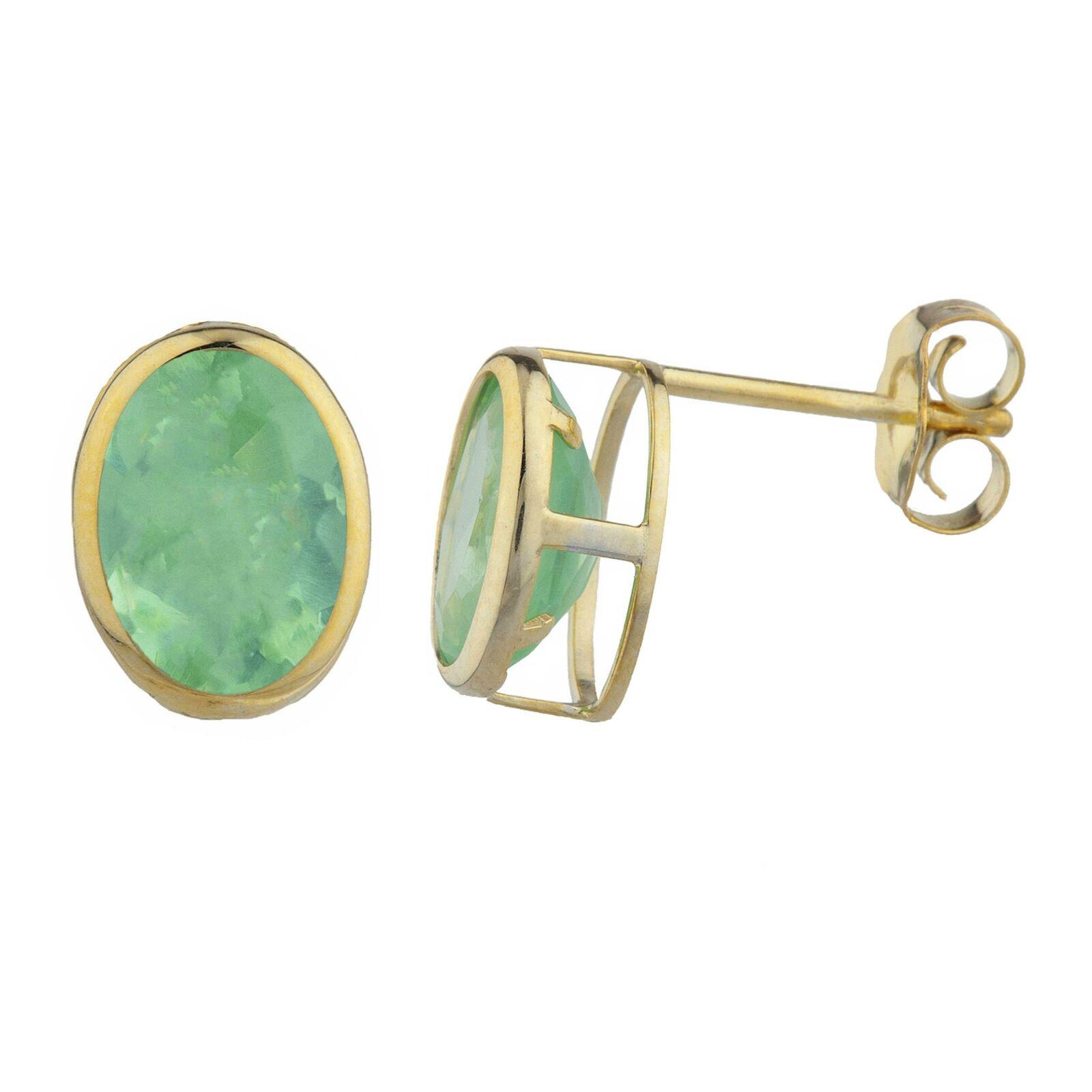 14Kt gold Green Sapphire Oval Bezel Stud Earrings