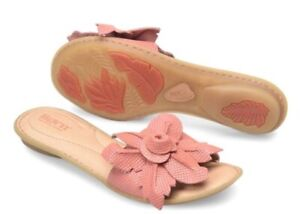 639941a0da1a Women Born Mai Flower Slip On Flat Sandal Leather Cushioned Soft ...