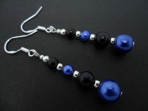 Nuevo.. Un par de Negro Y Azul Perla pendientes Con 925 Plata Maciza Ganchos