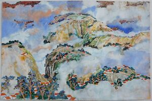 H-Y-PETER-HSU-CONTEMPORARY-CHINESE-GOUACHE-MOUNTAIN-CLOUD-VILLAGE-SCENE