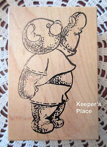 Sir-Stamp-A-Lot-Large-Teddy-Bear-Waving-Mounted-Rubber-Stamp-Brand-New