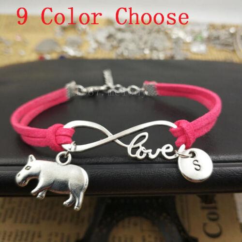 Personalized,Silver hippopotamus bracelet pendant,Infinity love Leather Bracelet