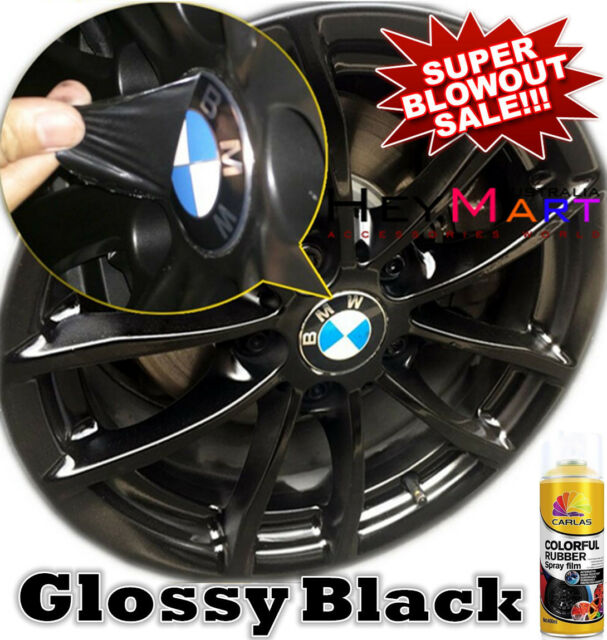 4x Can Glossy Black Rubber Paint Wheel Rim Plasti dip Spray Removable Paint x4