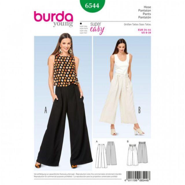 Burda Ladies Easy Sewing Pattern 6573 High Waist Wide Leg Trousers Burda-6573
