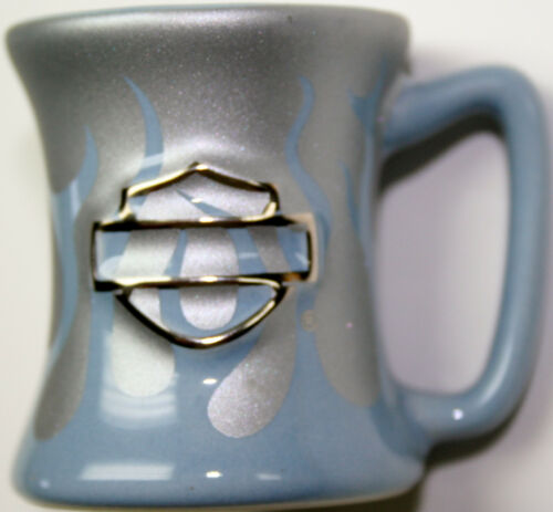 Harley davidson motorcycle ceramic shot mug glass toothpick holder HD cup silver