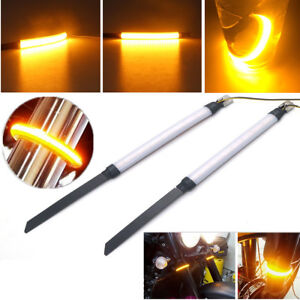 Details about New 2X Amber Motorcycle Fork Turn Signals Light LED Strips  For Clean Custom Look
