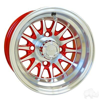 Golf Cart 10 Machined Red Medusa Wheels Rims Lug Nuts Center Caps No Tires Ebay