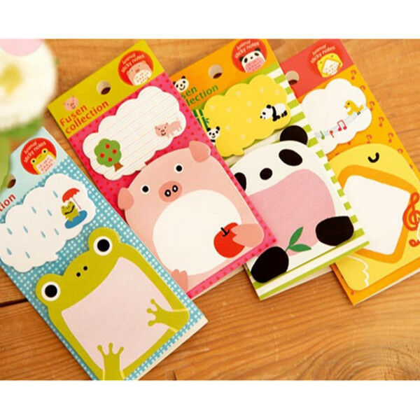 2~4pcs Cute Animal Novelty Frog Panda Sticky Note Memo Pad Label Gift