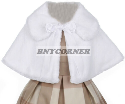 Ivory Kids Faux Fur Ribbon Tie Special Occasion Bolero Cape Flower Girls