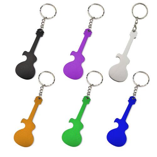 Temlum Guitar Shape Bottle Opener Music Keychains 6 Piece