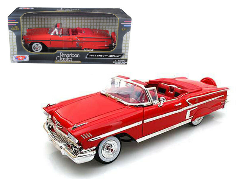 Chevrolet Impala 1958 Red 1 18 18 18 Diecast Car Model Cars Die-cast 1 18 by Motormax 218939