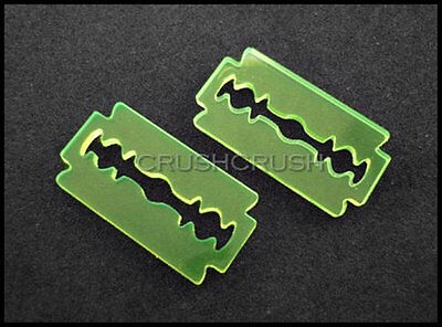 2 Razor Blade Stainless Steel Charms Stamping Tags MT601 38mm x 23mm