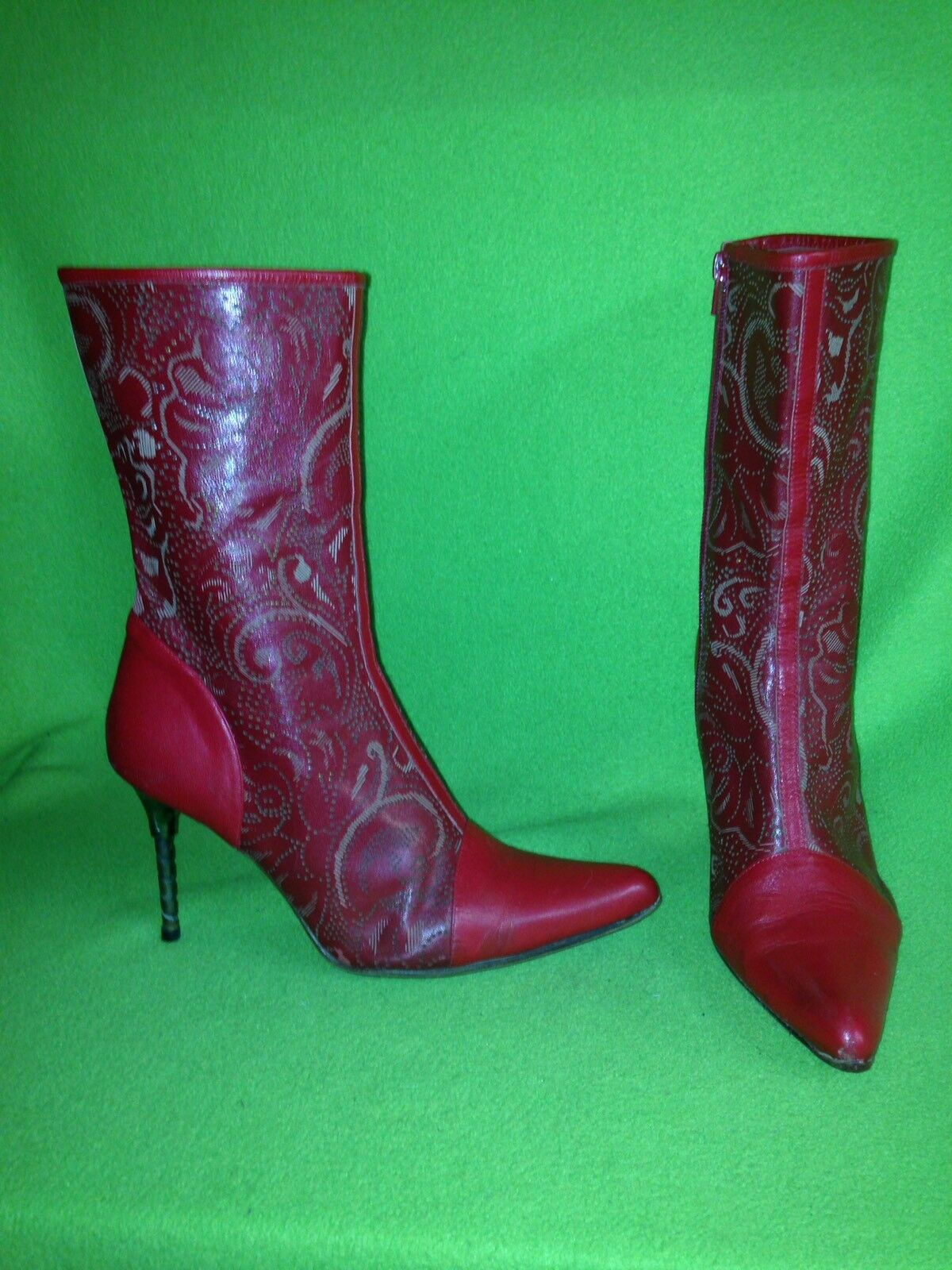 Red Etched & Perforated Beston Mid-Calf Boots with Drill Bit Heel 10