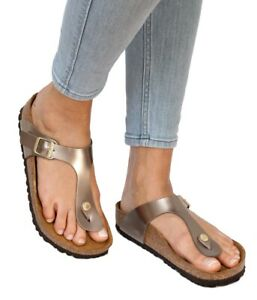 aba295298782 Image is loading Birkenstock-Sandals-GIZEH-Electric-Metallic-taupe -Birko-Flor-