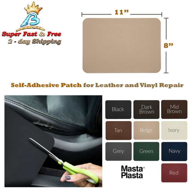 Ivory XL Plain MastaPlasta Self-Adhesive Patch for Leather and Vinyl Repair 8 x 11 Inch