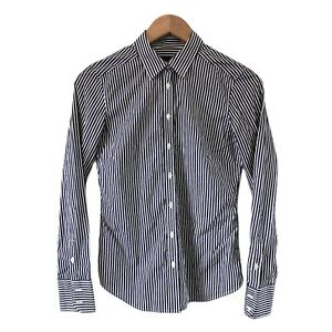 Country-Road-Womens-Button-Up-Striped-Shirt-Sz-XS-Navy-White-Long-Sleeve-Cotton