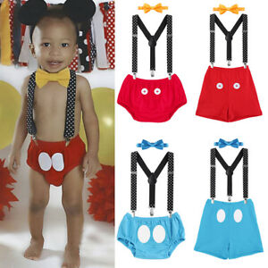Cake Smash Outfits Baby Boys Mickey Mouse 1st Birthday Party Costume Photo Prop