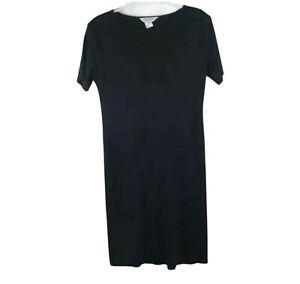 Exclusively Misook Womens Size M Black Short Sleeve Acrylic Dress Travel Knit