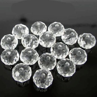 50 x FACETED RONDELLE CRYSTAL GLASS BEADS 8x6mm CHOOSE YOUR COLOUR UK STOCK