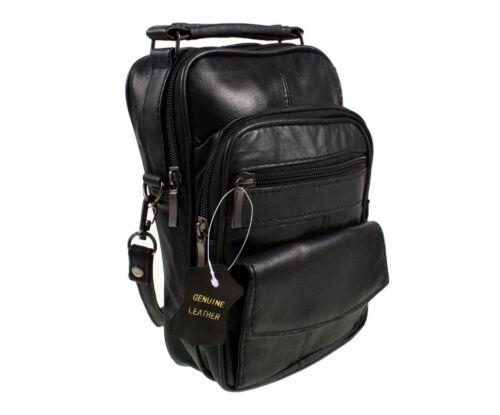 Real High Quality Leather Shoulder organiser or camera Bag Black 1458
