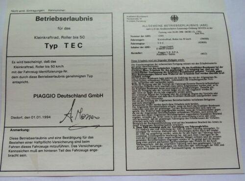 abe vespa PIAGGIO TEC  Betriebserlaubnis PAPIERE ECHT DOKUMENTENPAPIER stempel